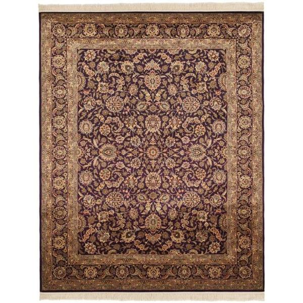 Safavieh Couture Royal Kerman Hand-Knotted Plum/ Beige Wool Area Rug (5' x 7')