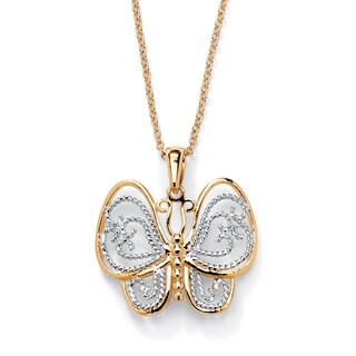 "Gold-Plated Two-Tone Filigree Butterfly Charm Pendant and Rollo-Link Chain 18"" Tailore"