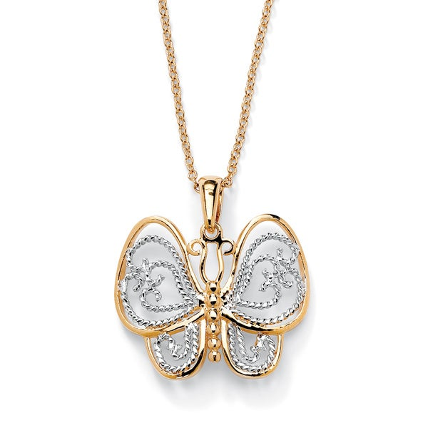 "18k Gold-Plated Two-Tone Filigree Butterfly Charm Pendant and Rollo-Link Chain 18"" Tailore"
