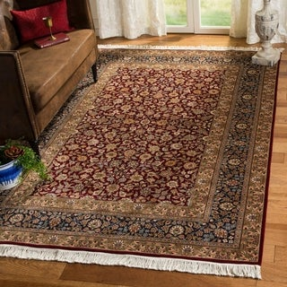 Asian Hand-knotted Royal Kerman Blue and Red Wool Rug (12' x 18')