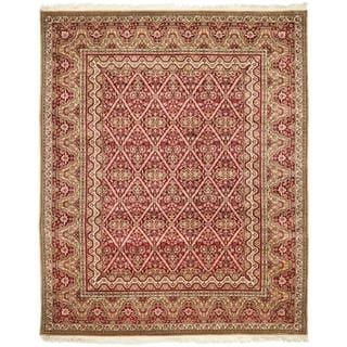 Asian Hand-knotted Royal Kerman Red Wool Rug (10' x 14')