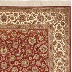 Asian Hand-knotted Royal Kerman Rust and Ivory Wool Rug (5' x 7') - Thumbnail 1