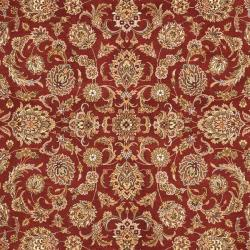 Asian Hand-knotted Royal Kerman Rust and Ivory Wool Rug (5' x 7') - Thumbnail 2