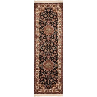 """Asian Hand-knotted Royal Kerman Black and Ivory Wool Rug (2'6 x 10') - 2'6"""" x 10'"""
