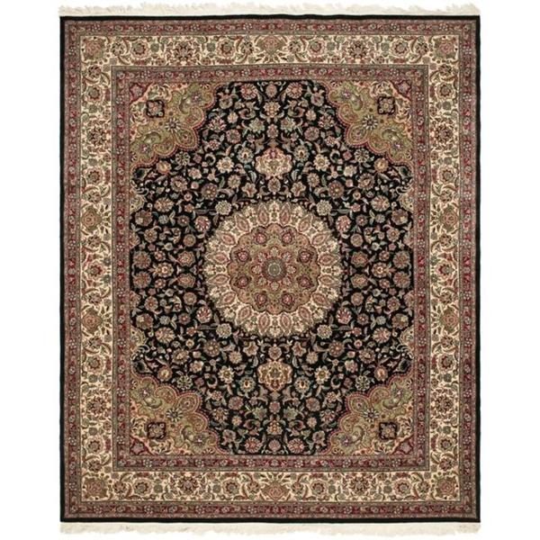 Safavieh Couture Royal Kerman Hand-Knotted Black/ Ivory Wool Area Rug (10' x 14')