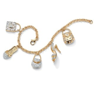Yellow Gold Overlay Cubic Zirconia Purses and Shoes Charm Bracelet