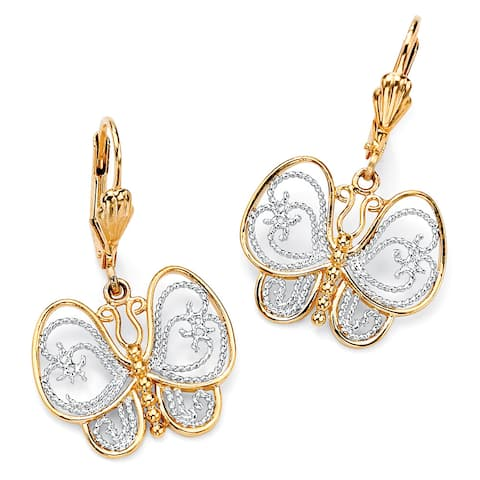 Yellow Gold-Plated Butterfly Two Tone Drop Earrings (33x21.5mm)
