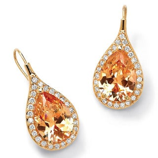 PalmBeach 11.60 TCW Pear Cut Champagne/White Cubic Zirconia 18k Gold-Plated Drop Earrings Color Fun