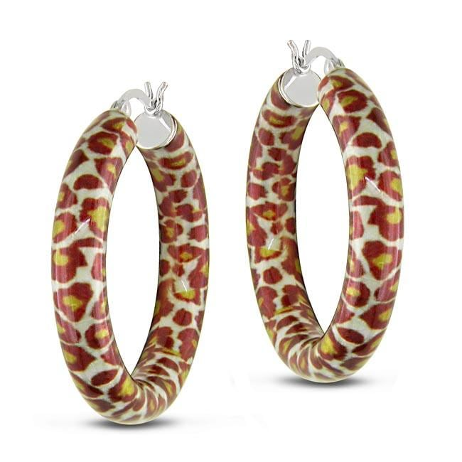 Sterling Silver Leopard Spotted Hoop Earrings