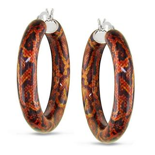 Miadora Sterling Silver Brown Snake-Print Hoop Earrings
