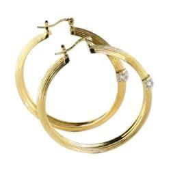 Ultimate CZ 14k Two-tone Goldplated Cubic Zirconia Hoop Earrings