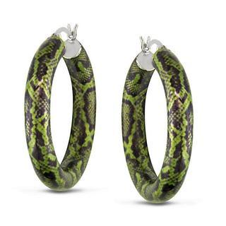 Miadora Sterling Silver Green Snake-Print Hoop Earrings