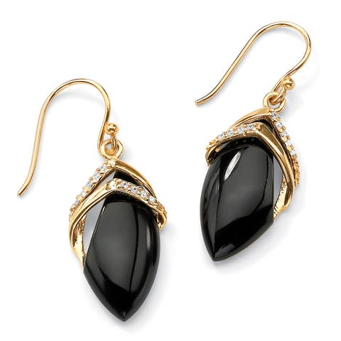Yellow Gold-Plated Marquise Shaped Onyx and Round Drop Earrings Cubic Zirconia (1/6 cttw)