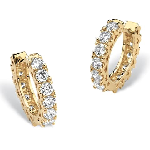 Yellow Gold-Plated Huggie Hoop Earrings (15mm) Round Cubic Zirconia (2 3/8 cttw TDW)