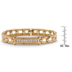 "Men's .90 TCW Round Cubic Zirconia 14k Gold-Plated I.D.-Style Bar-Link Bracelet 8"" - Thumbnail 2"