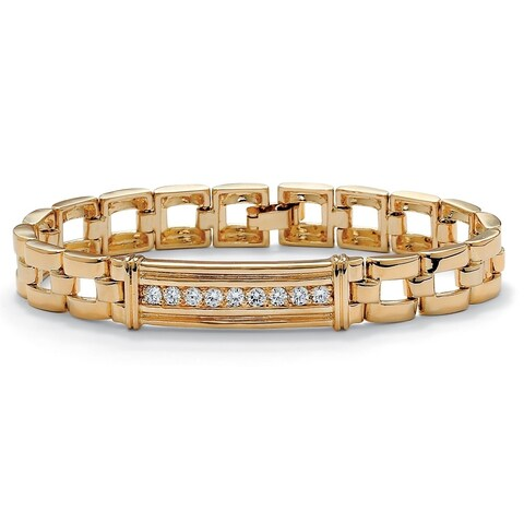 """Men's Yellow Gold-Plated I.D. Style Bar Link Bracelet (13mm), Round Cubic Zirconia, 8"""""""