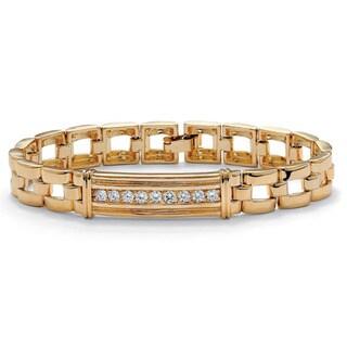 "Men's .90 TCW Round Cubic Zirconia 14k Gold-Plated I.D.-Style Bar-Link Bracelet 8"""
