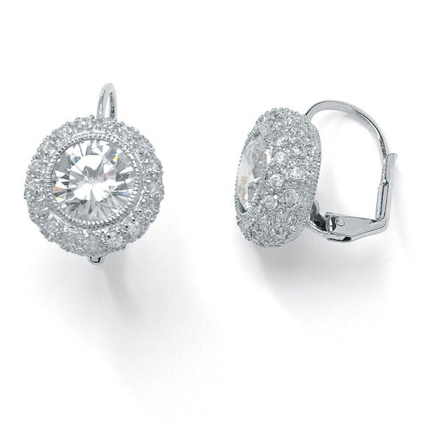 5.02 TCW Round Bezel-Set Cubic Zirconia Platinum over Sterling Silver Drop Earrings Glam C