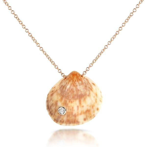 Annello by Kobelli 14k Gold over Silver Diamond Accent Seashell Necklace