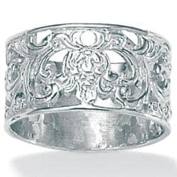 PalmBeach High-polish Sterling Silver Filigree Band Tailored