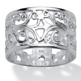 PalmBeach High-polish Sterling Silver Filigree Band (2 options available)