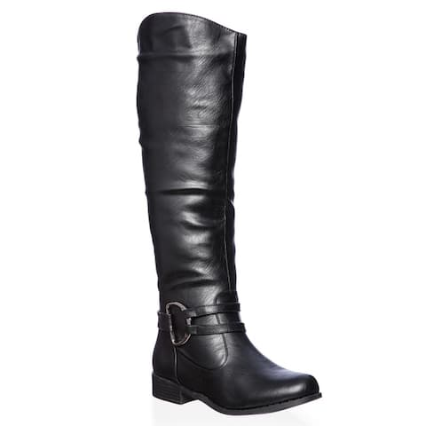 Journee Collection Womens Charming-01 Regular and Wide-calf Knee-high Riding Boot