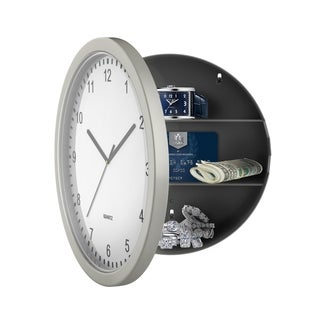 "Hidden Compartment Wall Clock - 10"" Battery Operated Working Analog Clock with Secret Interior Storage by Stalwart (Set of 2)"
