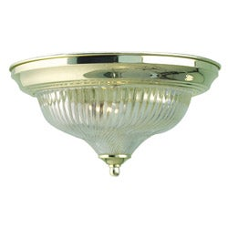 Woodbridge Lighting Basic 1-light Swirl Glass Polished Brass Flush Mount