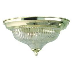 Woodbridge Lighting Basic 1-light Swirl Glass Polished Brass Flush Mount - Thumbnail 0