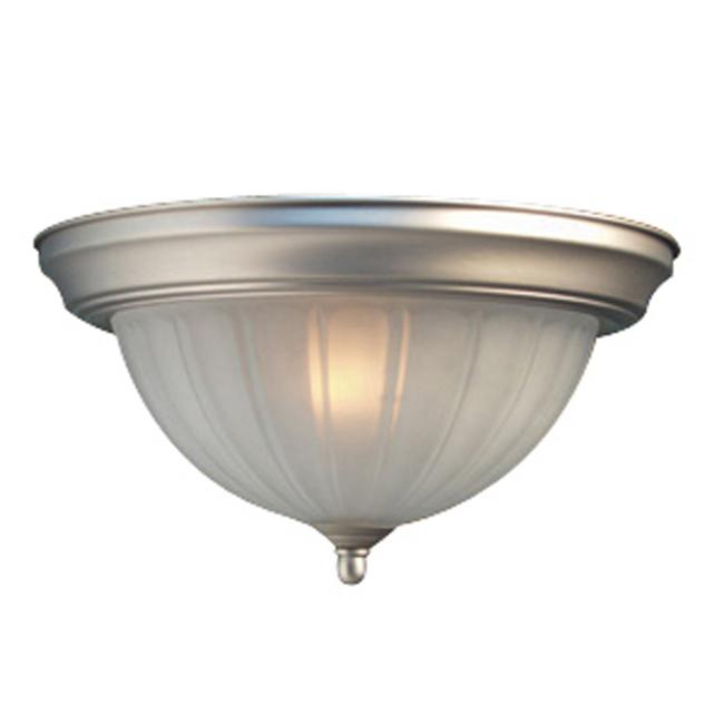 Woodbridge Lighting Basic 1-light Melon Glass Satin Nickel Flush Mount
