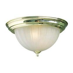 Woodbridge Lighting Basic 2-light Melon Glass Polished Brass Flush Mount