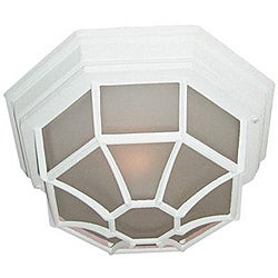 Woodbridge Lighting Basic 1-Light 60-Watt Powder- Coated White Outdoor Flush Mount