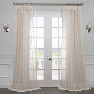 Exclusive Fabrics Linen Open Weave Cream Sheer Curtain Panel