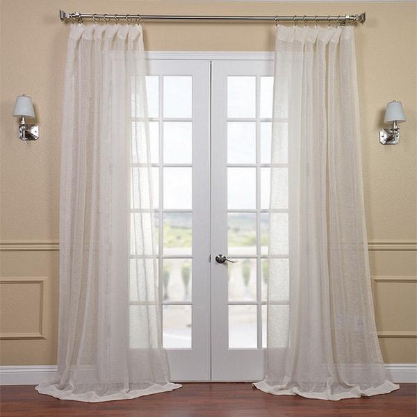 Exclusive Fabrics Linen Open Weave Cream 96-inch Sheer Curtain Panel