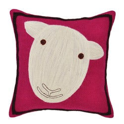 Pink Sheep Wool Decorative Pillow