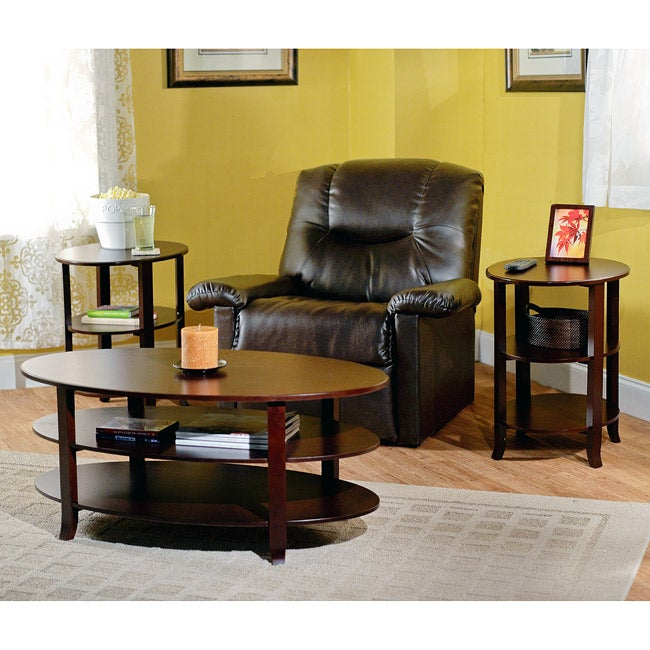 3 Piece Oval Coffee Table Set: Simple Living Espresso Oval 3-piece Table Set