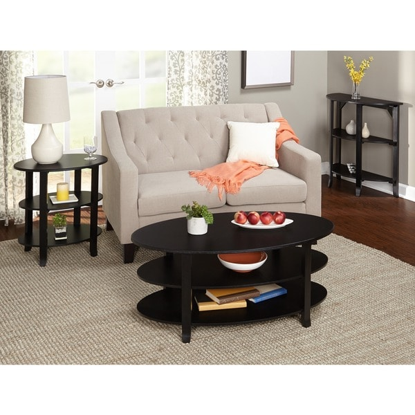 3 Piece Oval Coffee Table Set: Shop Simple Living Black Oval 3-piece Coffee, End And Hall
