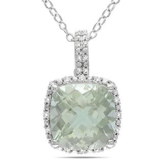 Link to Miadora Sterling Silver Green Amethyst and 1/10ct TDW Diamond Necklace(G-H, I3) Similar Items in Earrings