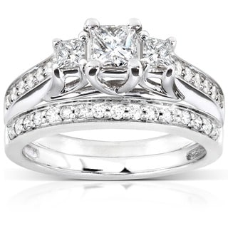 Annello by Kobelli 14k White Gold 4/5ct TDW Diamond Bridal Ring Set (H-I, I1-I2)
