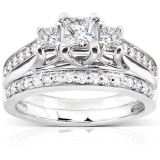 Annello by Kobelli 14k White Gold 4/5ct TDW Diamond Bridal Ring Set