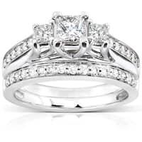 Annello by Kobelli 14k White Gold 4/5ct TDW Diamond Bridal Ring Set