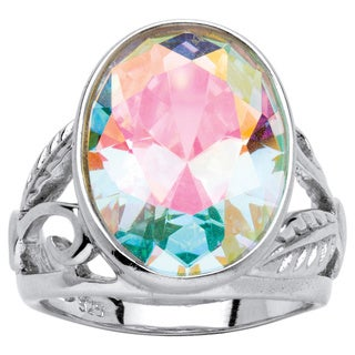 12.86-Carat Oval-Cut Aurora Borealis Cubic Zirconia Floral-Cutout Sterling Silver Ring Col