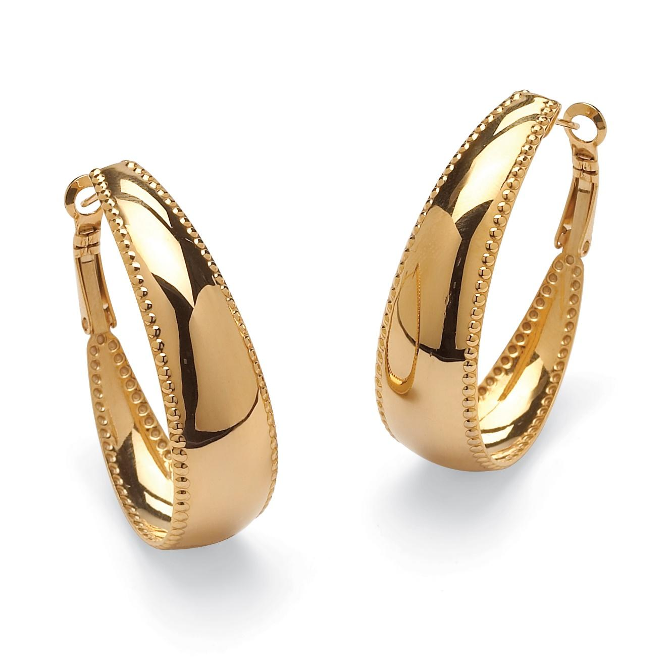 PalmBeach Gold ION-Plated Stainless Steel Hoop Earrings Tailored