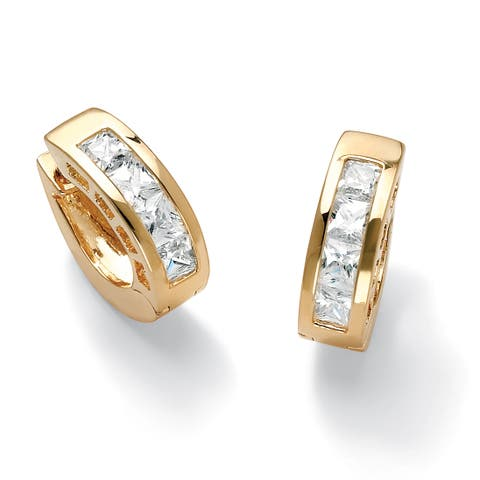 Yellow Gold-Plated Huggie Hoop Earrings (18mm) Princess Cut Cubic Zirconia (3 cttw TDW)