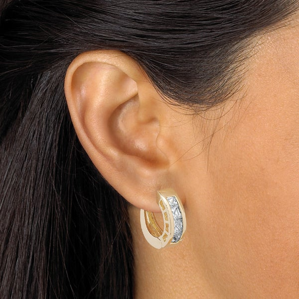 10K Yellow Gold Classic Cubic Zirconia CZ Huggie Hoop Earrings