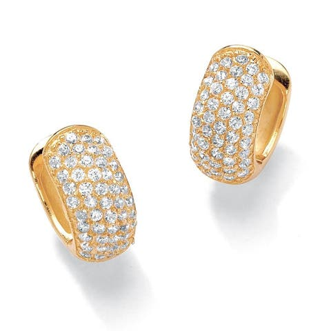 Yellow Gold-Plated Hoop Earrings (15mm) Round Cubic Zirconia (1 3/8 cttw TDW)