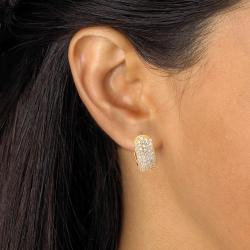 1.37 TCW Round Cubic Zirconia 18k Gold-Plated Five-Row Huggie-Style Hoop Earrings Classic