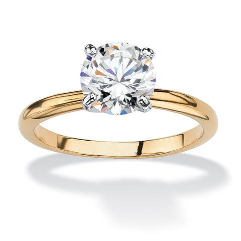 Yellow Gold-plated Cubic Zirconia Solitaire Engagement Ring - White