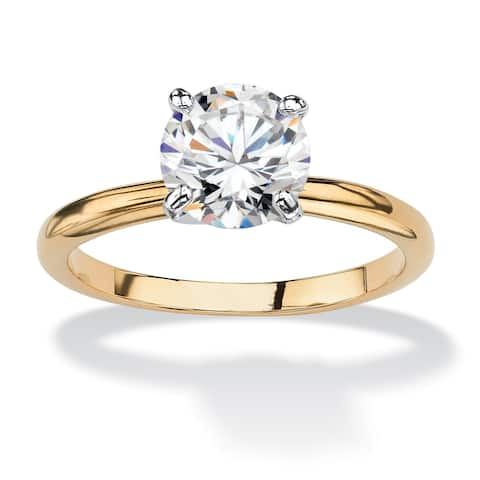 6761ee546 Yellow Gold-plated Cubic Zirconia Solitaire Engagement Ring - White