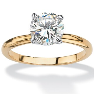 14k Goldplated 1 7/8ct TGW Look Round Cubic Zirconia Solitaire Engagement Ring (4 options available)